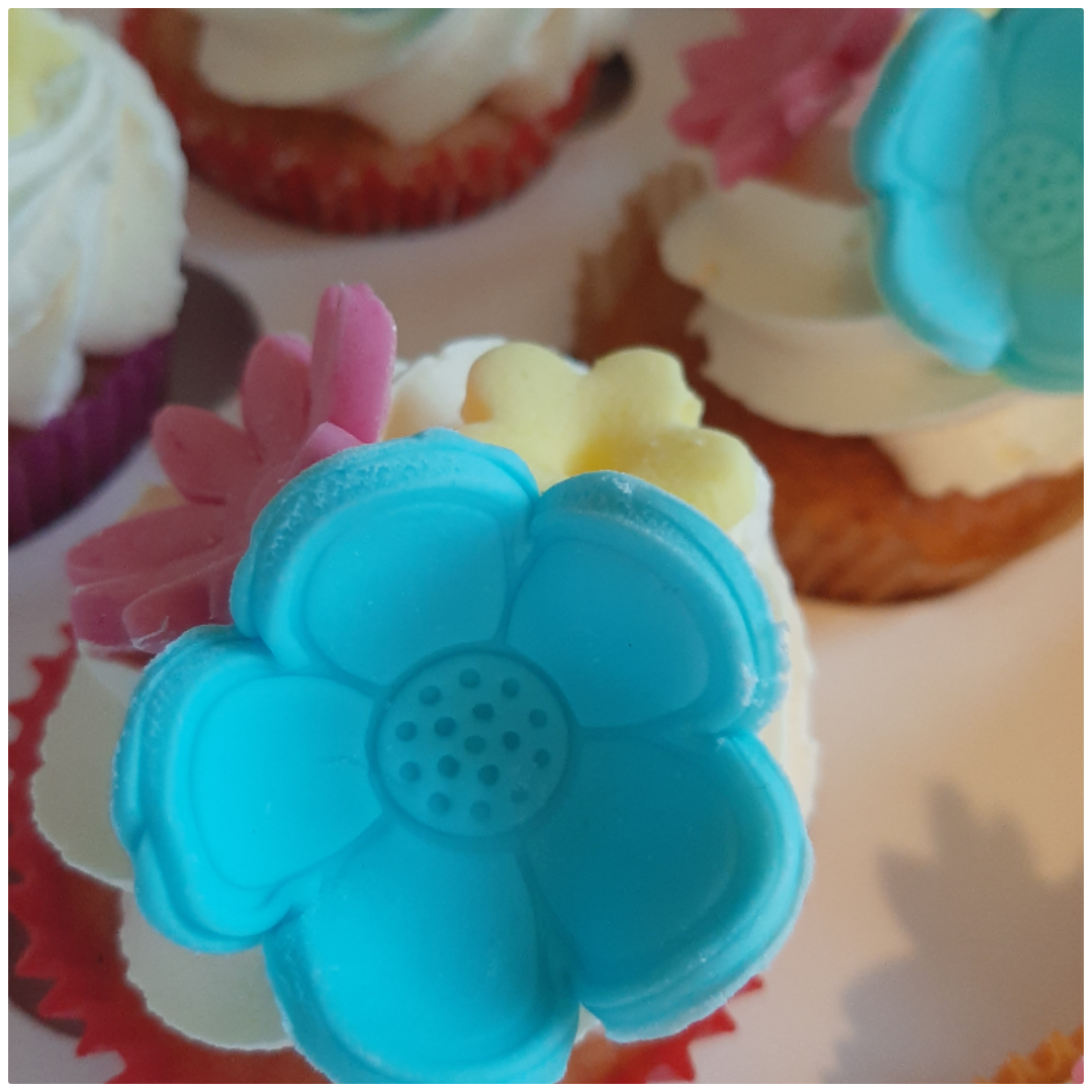 muffin bloemen marsepein